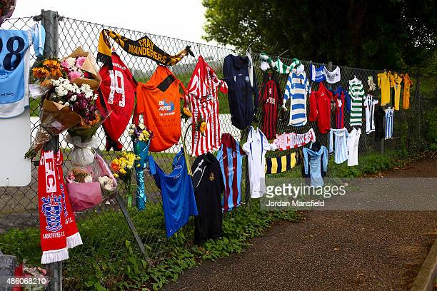 Tributes are laid outside the Worthing United ground ahead of the Southern Combination Football League Premier Division match between Worthing United...
