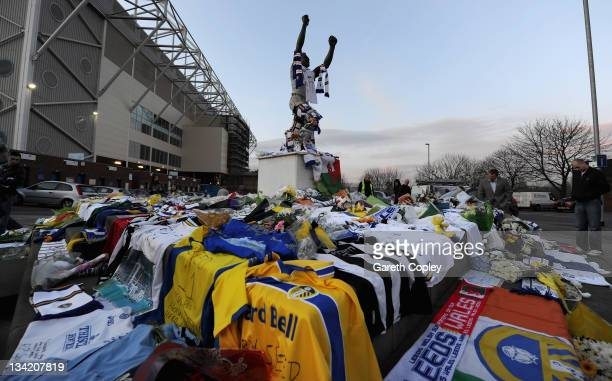 Tributes are left at the Billy Bremner statue outside Elland Road football ground in memory of former player Leeds United Gary Speed on November 28...