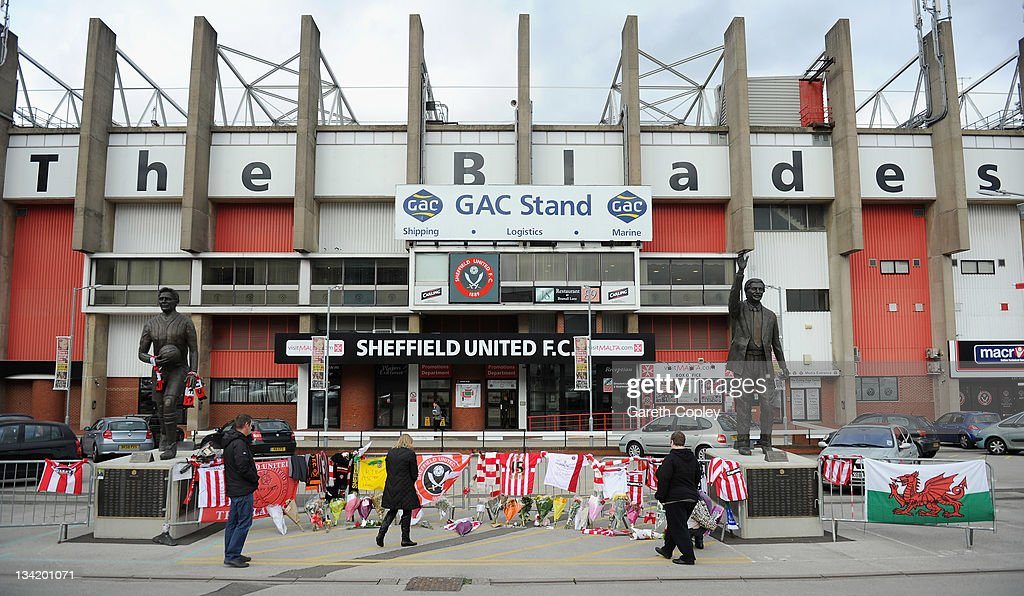 Tributes are left outside Bramall Lane ground in memory of former player and manager Gary Speed on November 28, 2011 in Sheffield, England. Wales Manager Gary Speed, 42, was found dead on November 27, 2011 in Cheshire, England.