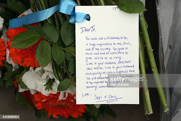 Tributes are left to Jo Cox on Parliament Square on June 17 2016 in London United Kingdom Jo Cox Labour MP for Batley and Spen was shot and stabbed...
