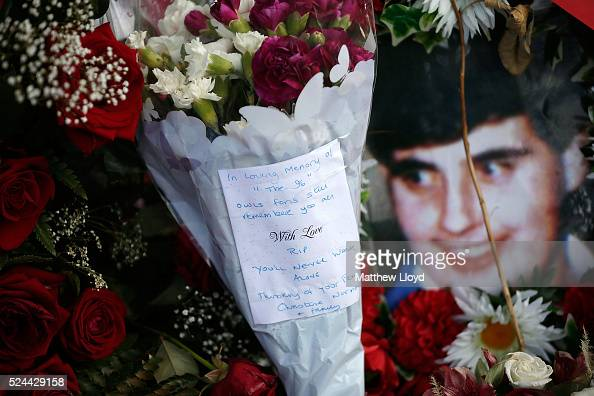 Tributes are placed at Sheffield Wednesday's Hillsborough stadium on April 26 2016 in Sheffield England The fresh inquests into the 1989 Hillsborough...