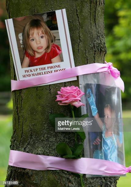 Tributes are seen in Rothley Village Centre showing support to Madeleine McCann on April 12 2007 in Rothley England Gerry and Kate McCann parents of...