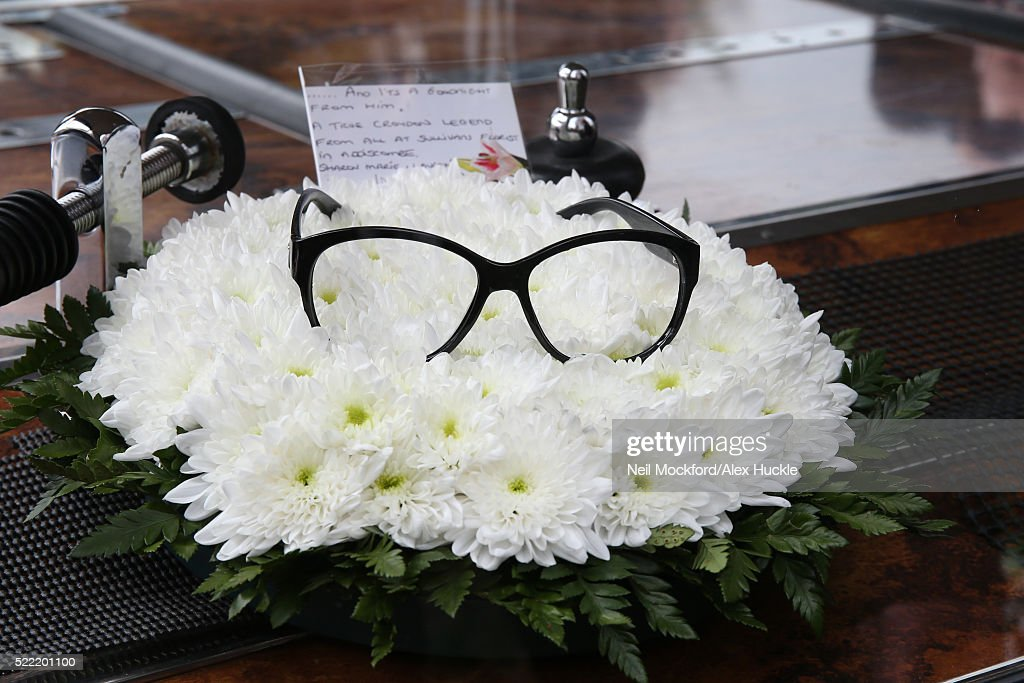 Tributes at the funeral of Ronnie Corbett at St John The Evangelist Church in Shirley on April 18, 2016 in Shirley, England.