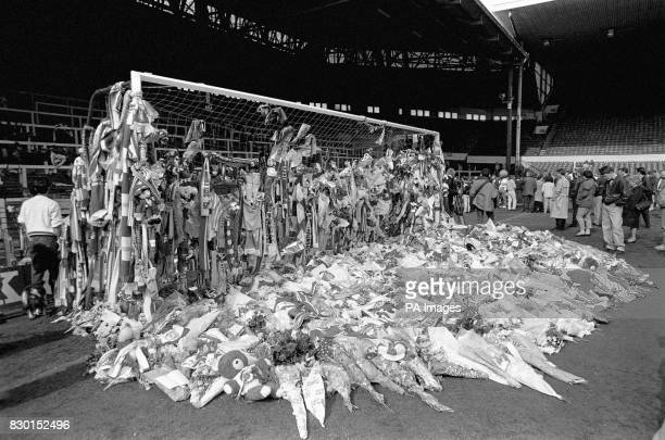 Tributes laid at Anfield in memory of those who died at the Hillsborough disaster during an FA Cup semifinal football match between Liverpool and...