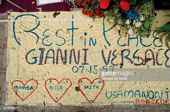 Tributes left by fans after the murder of Italian fashion designer Gianni Versace outside his Miami Beach home Florida July 1997