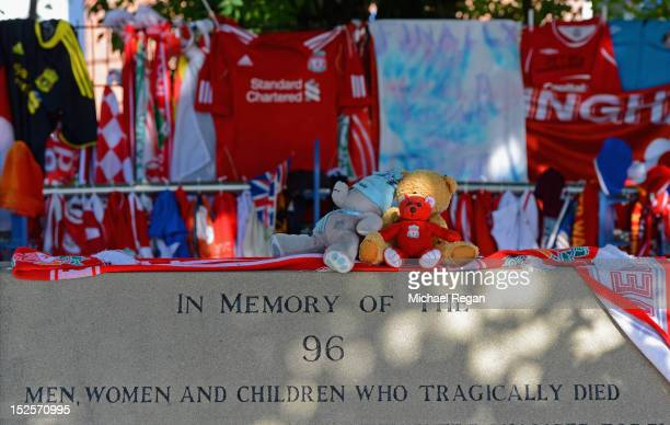 Tributes left on the memorial to the 1989 Hillsborough disaster before the npower Championship match between Sheffield Wednesday and Bolton Wanderers...