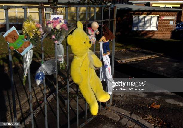 Tributes left outside Redhill Infants School in Castleford West Yorkshire where Shannon Louise Hennessey was a pupil
