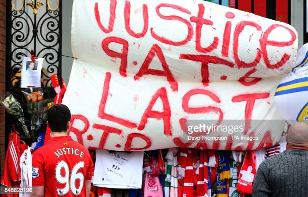 Tributes placed on the Shankly Gates next to the Hillsborough Memorial at Liverpool's Anfield Stadium The Hillsborough Families Support Group met for...