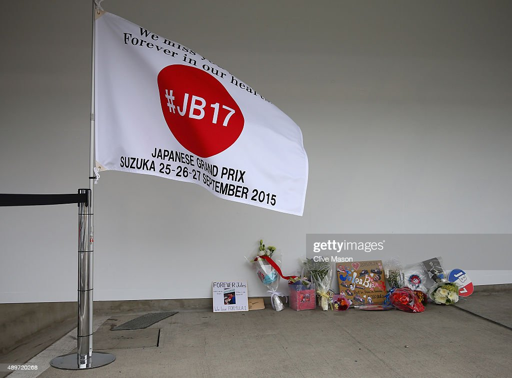 Tributes to the late formula one driver Jules Bianchi in the pit lane next to the Manor Marussia garage during previews to the Formula One Grand Prix...