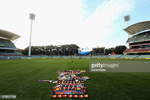Tributes to the late Phil Walsh can be seen in the centre square of the ground at Adelaide Oval on July 5 2015 in Adelaide Australia Adelaide Crows...