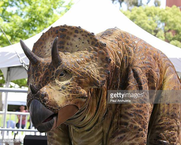 Triceratops from 'Walking With Dinosaurs' at the 2015 Los Angeles Times Festival Of Books at USC on April 18 2015 in Los Angeles California