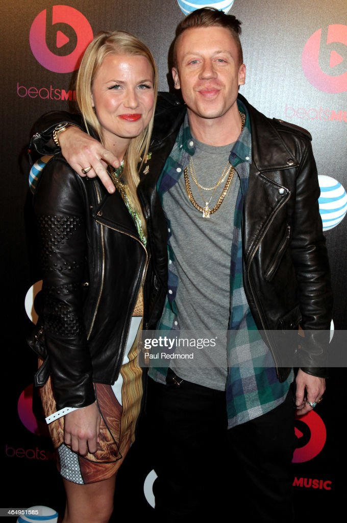 Tricia Davis and <a gi-track='captionPersonalityLinkClicked' href=/galleries/search?phrase=Macklemore&family=editorial&specificpeople=7639427 ng-click='$event.stopPropagation()'>Macklemore</a> at Beats by Dre Music Launch GRAMMY Party at Belasco Theatre on January 24, 2014 in Los Angeles, California.