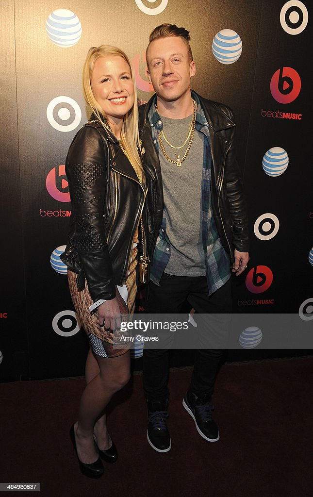 Tricia Davis and recording artist <a gi-track='captionPersonalityLinkClicked' href=/galleries/search?phrase=Macklemore&family=editorial&specificpeople=7639427 ng-click='$event.stopPropagation()'>Macklemore</a> attend Beats Music Launch Party At Belasco Theatre at Belasco Theatre on January 24, 2014 in Los Angeles, California.