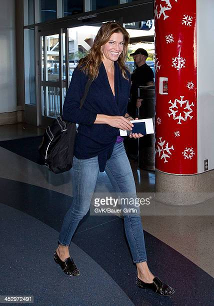 Tricia Helfer is seen arriving at Los Angeles International airport on December 01 2013 in Los Angeles California
