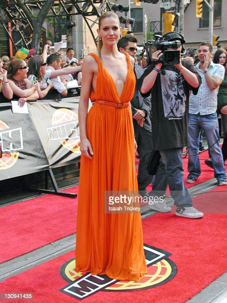 Tricia Helfer of 'Canada's Next Top Model' during 17th Annual MuchMusic Video Awards Red Carpet at Chum City Building in Toronto Ontario Canada