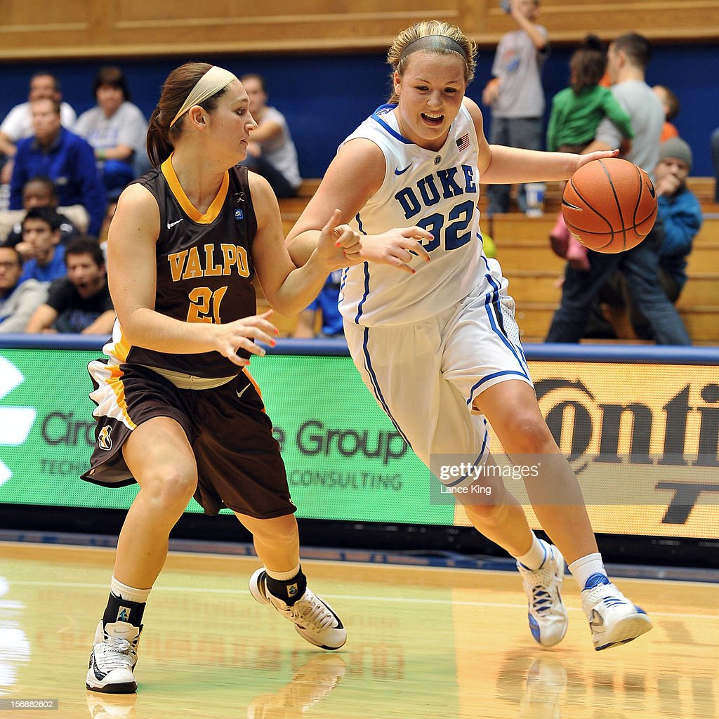 Tricia Liston #32 of the Duke Blue Devils dribbles against Lexi Miller #21 of the Valparaiso Crusaders at Cameron Indoor Stadium on November 23, 2012 in Durham, North Carolina.