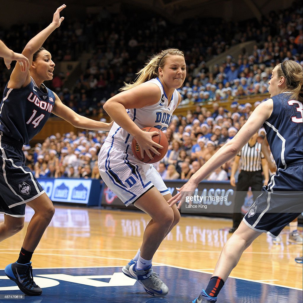 Tricia Liston #32 of the Duke Blue Devils drives against the Connecticut Huskies at Cameron Indoor Stadium on December 17, 2013 in Durham, North Carolina.