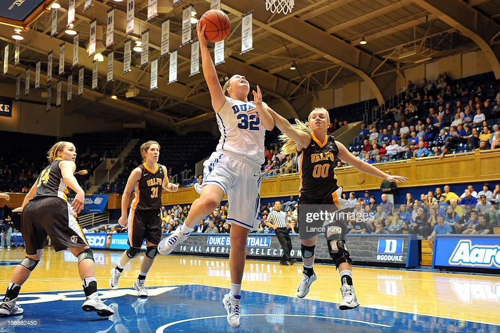 Tricia Liston #32 of the Duke Blue Devils goes to the hoop against Jessica Carr #00 of the Valparaiso Crusaders at Cameron Indoor Stadium on November 23, 2012 in Durham, North Carolina.