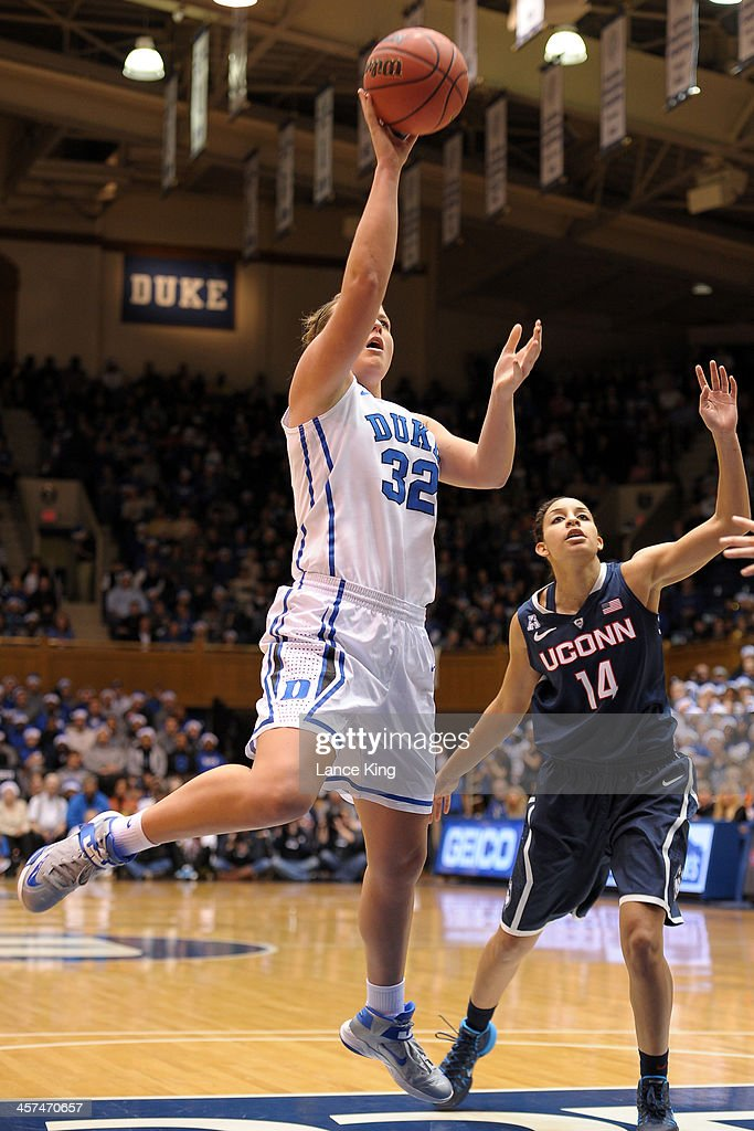 Tricia Liston #32 of the Duke Blue Devils puts up a shot against the Connecticut Huskies at Cameron Indoor Stadium on December 17, 2013 in Durham, North Carolina.