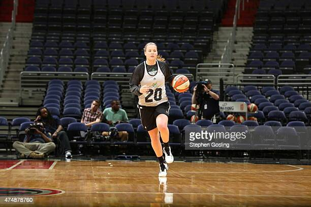 Tricia Liston of the Minnesota Lynx drives against the Washington Mystics during an Analytic Scrimmage at the Verizon Center on May 26 2015 in...