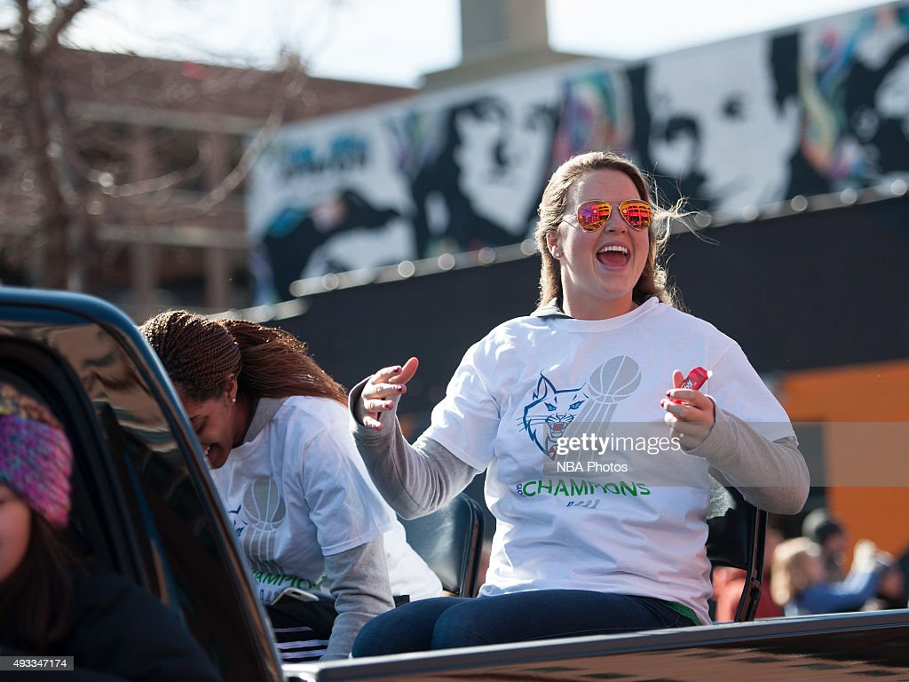 Tricia Liston #20 of the Minnesota Lynx during the Championship Parade through downtown Minneapolis on October 16, 2015 in Minneapolis, Minnesota.