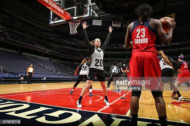 Tricia Liston of the Minnesota Lynx guards her position the Washington Mystics during an Analytic Scrimmage at the Verizon Center on May 26 2015 in...