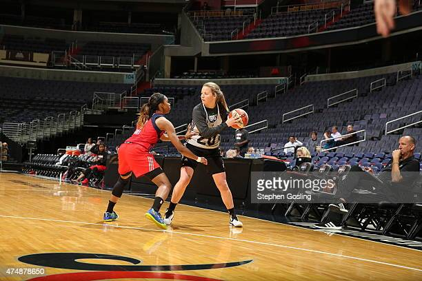 Tricia Liston of the Minnesota Lynx handles the ball against the Washington Mystics during an Analytic Scrimmage at the Verizon Center on May 26 2015...