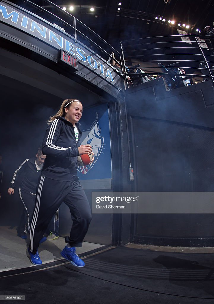 Tricia Liston #20 of the Minnesota Lynx runs out before Game Three of the WNBA Western Conference Semifinal against the Los Angeles Sparks on September 22, 2015 at Target Center in Minneapolis, Minnesota.