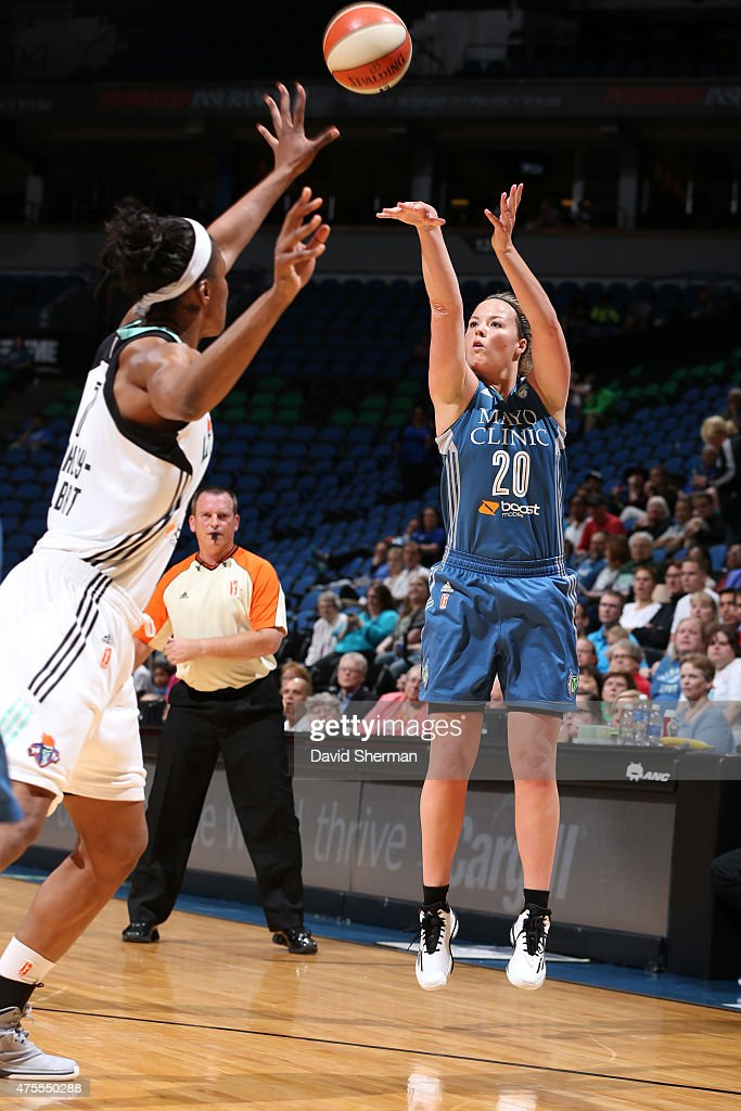 Tricia Liston #20 of the Minnesota Lynx shoots against the New York Liberty on June 1, 2015 at Target Center in Minneapolis, Minnesota.