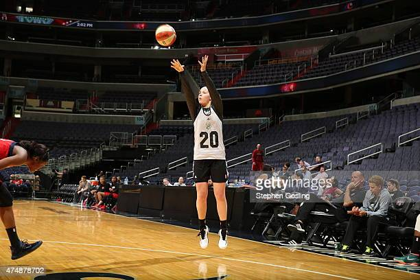 Tricia Liston of the Minnesota Lynx shoots against the Washington Mystics during an Analytic Scrimmage at the Verizon Center on May 26 2015 in...