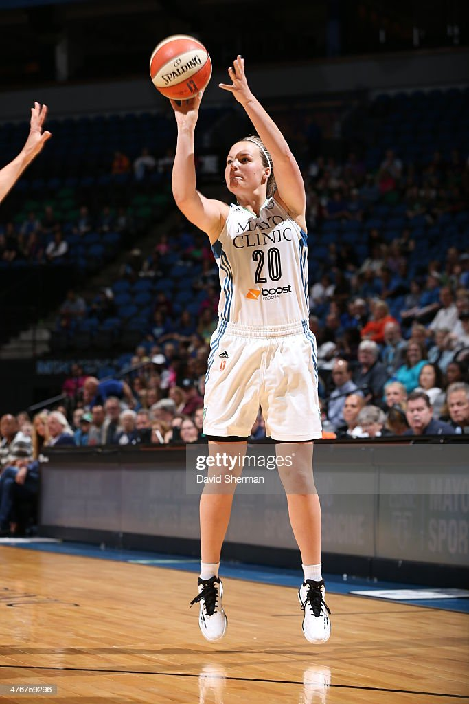 Tricia Liston #20 of the Minnesota Lynx shoots the ball against the Seattle Storm on June 11, 2015 at Target Center in Minneapolis, Minnesota.