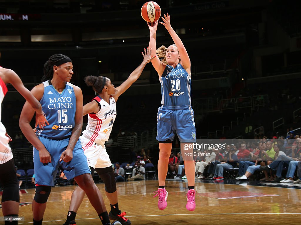 <a gi-track='captionPersonalityLinkClicked' href=/galleries/search?phrase=Tricia+Liston&family=editorial&specificpeople=7420288 ng-click='$event.stopPropagation()'>Tricia Liston</a> #20 of the Minnesota Lynx shoots the ball against the Washington Mystics on August 16, 2015 at the Verizon Center in Washington, DC.
