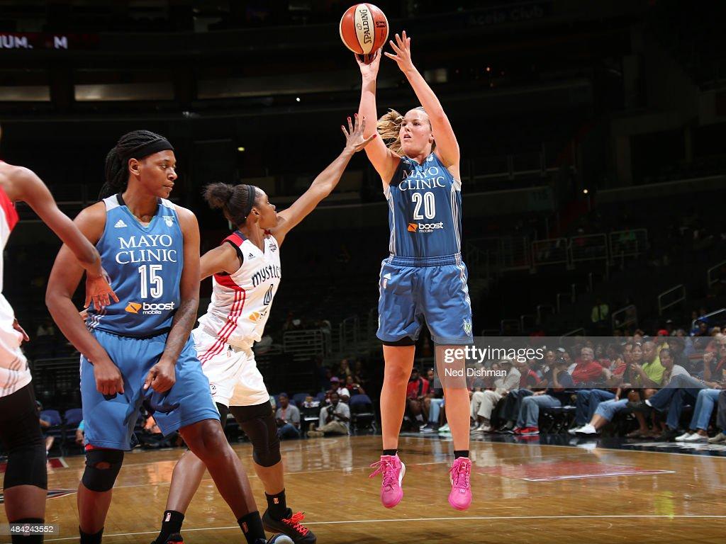 Tricia Liston #20 of the Minnesota Lynx shoots the ball against the Washington Mystics on August 16, 2015 at the Verizon Center in Washington, DC.