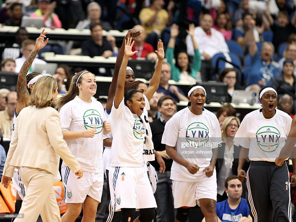 Tricia Liston Renee Montgomery Asjha Jones and Kalana Greene of the Minnesota Lynx celebrate during the game against the Phoenix Mercury in Game One...