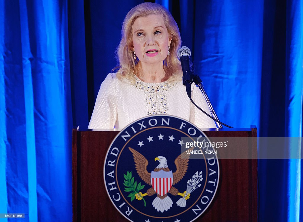 Tricia Nixon Cox, daughter of Richard Nixon, speaks during a celebration on the 100th birthday of former US president Richard Nixon on January 9, 2013 at a hotel in Washington, DC. AFP PHOTO/Mandel NGAN