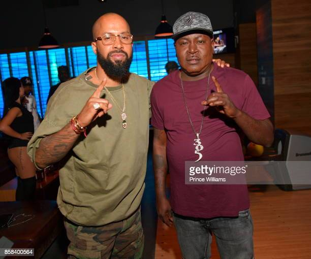 Trick Daddy and Kenny Burns attend Baller Alert's Bowl With a Baller at Basement Bowl on October 5 2017 in Miami Florida