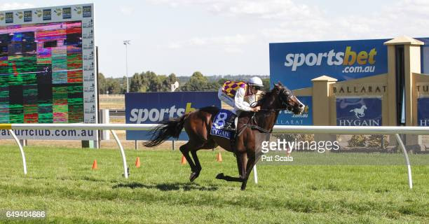 Tricky Glen ridden by Chris Symons wins the Hygain BM64 Handicap at SportsbetBallarat Racecourse on March 07 2017 in Ballarat Australia