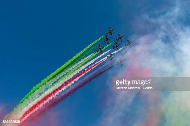 Tricolour Arrows the aerobatic attend the military parade during the celebrations of the Italian Republic Day on June 2 2017 in Rome Italy