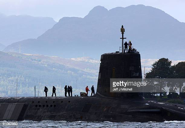 A trident submarine makes it's way out from Faslane Naval base on September 23 2009 in Faslane Scotland British prime minister Gordon Brown will tell...