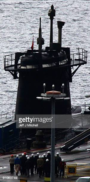 A trident submarine sits in dock at Faslane Naval base on September 23 2009 in Faslane Scotland British prime minister Gordon Brown will tell the UN...