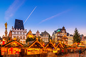 The christmas market at the public town square of the historic town of Trier, Germany.