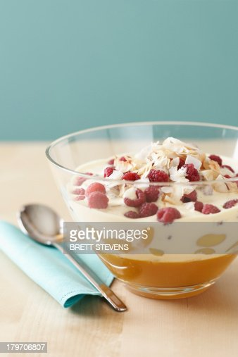 Trifle in glass bowl : Stock Photo
