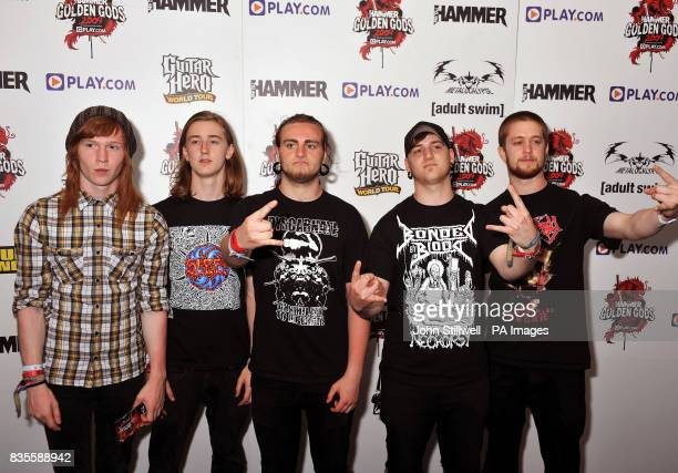 Trigger the Bloodshed arrive at the Indigo concert venue for the Metal Hammer Golden Gods awards at the O2 Arena in Greenwich south East London