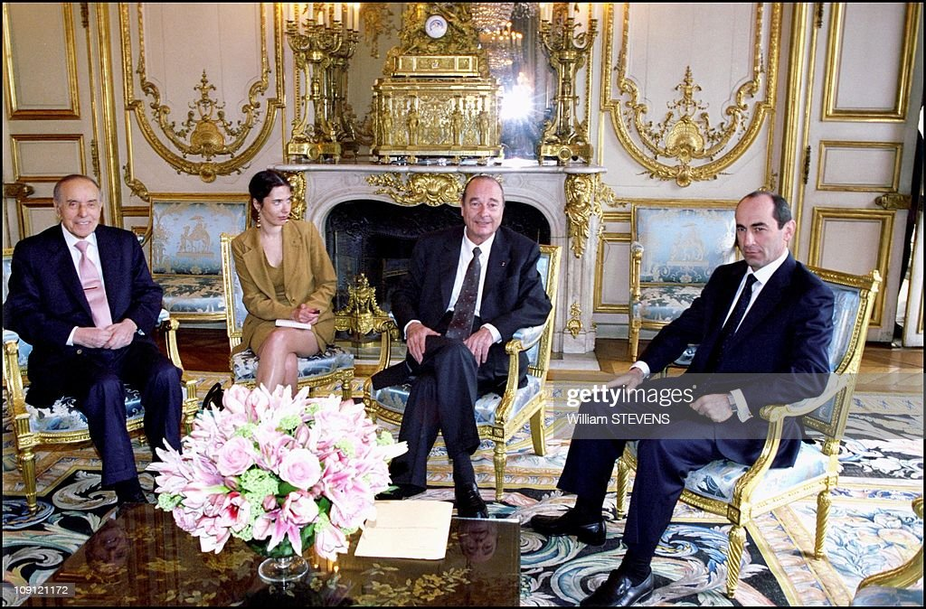 Trilateral Summit On The Karabakh Upland Region On May 3Rd, 2001 In Paris, France. <a gi-track='captionPersonalityLinkClicked' href=/galleries/search?phrase=Jacques+Chirac&family=editorial&specificpeople=165237 ng-click='$event.stopPropagation()'>Jacques Chirac</a> Meets President Of Azerbaijan Heidar Aliyev (Left) And President Of Armenia Robert Kocharian.