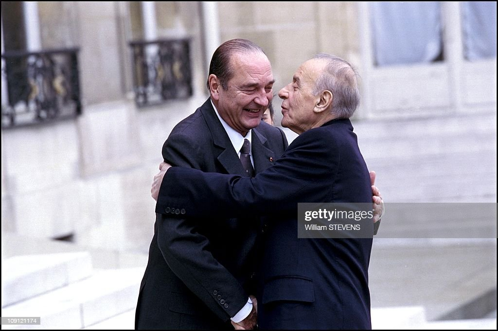 Trilateral Summit On The Karabakh Upland Region On May 3Rd, 2001 In Paris, France. <a gi-track='captionPersonalityLinkClicked' href=/galleries/search?phrase=Jacques+Chirac&family=editorial&specificpeople=165237 ng-click='$event.stopPropagation()'>Jacques Chirac</a> Hugs President Of Azerbaijan Heidar Aliyev.