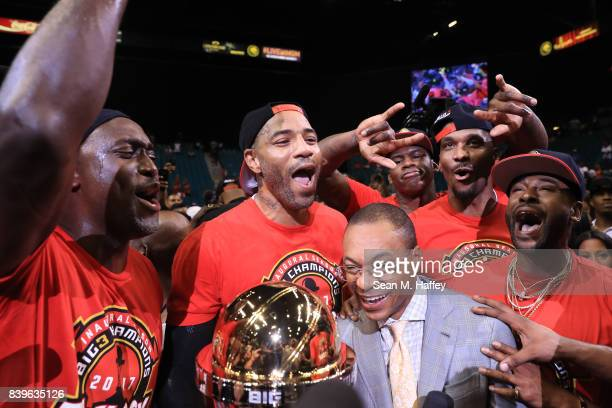 Trilogy celebrate with the trophy after winning the BIG3 three on three basketball league championship game against 3 Headed Monsters on August 26...
