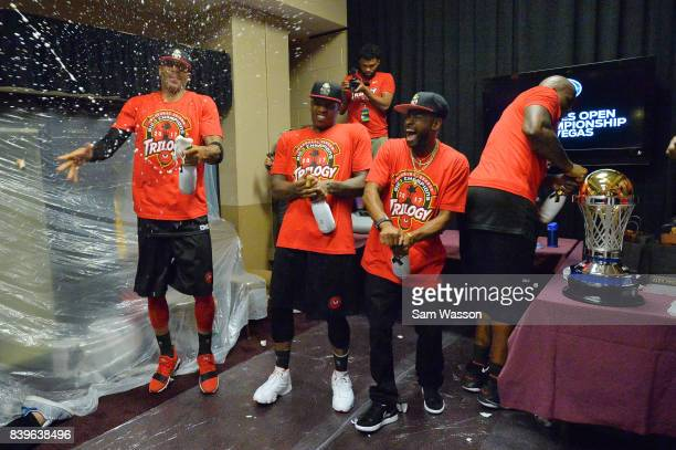 Trilogy celebrates in the locker room after winning the BIG3 three on three basketball league championship game against 3 Headed Monster on August 26...