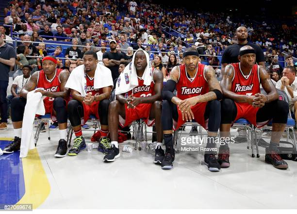 Trilogy sits on the bench during the game against Power during week seven of the BIG3 three on three basketball league at Rupp Arena on August 6 2017...