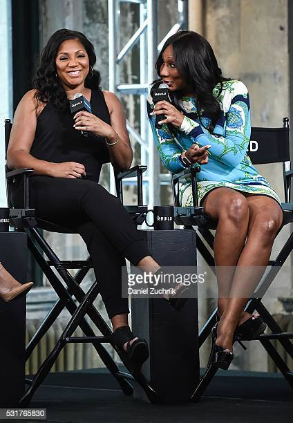 Trina Braxton and Towanda Braxton attend AOL Build to discuss the show 'Braxton Family Values' on May 16 2016 in New York New York