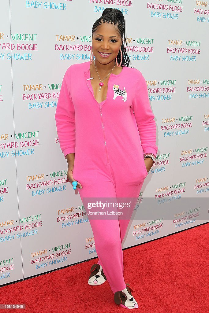 <a gi-track='captionPersonalityLinkClicked' href=/galleries/search?phrase=Trina+Braxton&family=editorial&specificpeople=5880827 ng-click='$event.stopPropagation()'>Trina Braxton</a> attends as Tamar Braxton hosts a carnival-themed baby shower with friends and family at Hotel Bel-Air on May 5, 2013 in Los Angeles, California.